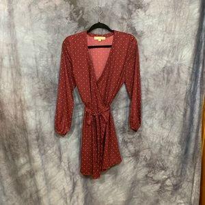 Loft Burgundy Star Print Wrap Dress 10P